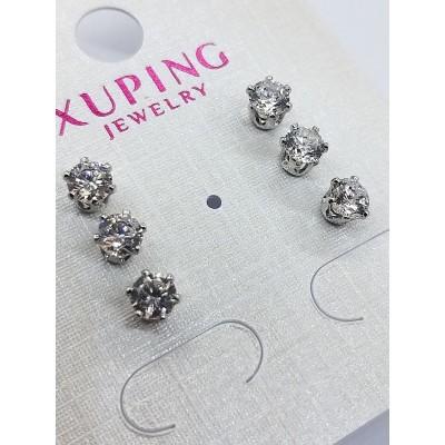 Серьги-гвоздики Xuping покрытые родием