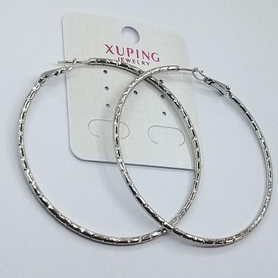 Серьги-кольца Xuping покрытые родием